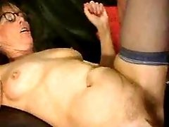 Grandma gets creampie and eats cum in orgy