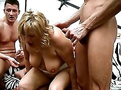 Three guys drills plump granny by turns