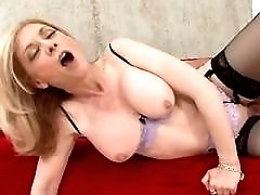 Blonde fucks from behind and gets cum in mouth