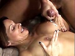 Hot mature gets cum on awesome tits