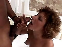 Mature has black cock in all holes and gets facial