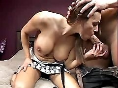 Mature with nice tits sucks cock and gets licking pussy