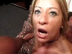 Milf gets facial after hot fuck from behind