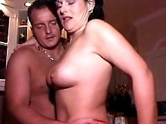 Brunette fucks from behind and drinks sperm