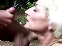 Mature fucks outdoor n gets facial