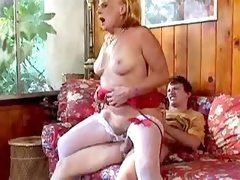 Blonde milf getting cumshot on tits