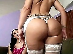 Mature in stockings gets wet facial
