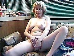 Blonde aged mature gets cum on tits