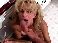 Mature sucks cock n nuts in kitchen