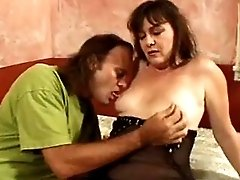 Chubby mature sucks n jumps on dick