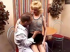 Blond mature fucks and gets cumshot